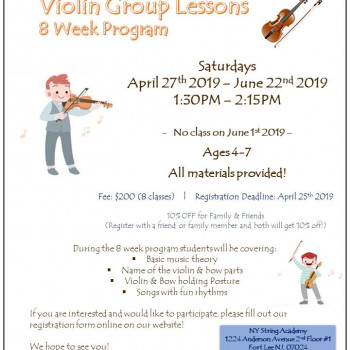Violin Group Lessons 8 Week Program